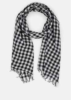 Barneys New York Women's Gingham Cotton Scarf - Wht.&blk.
