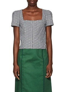 Barneys New York Women's Gingham Eyelet Voile Bustier Top