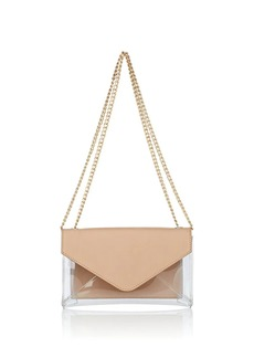 Barneys New York Women's Hannah Leather-Trimmed Chain Wallet - Neutral