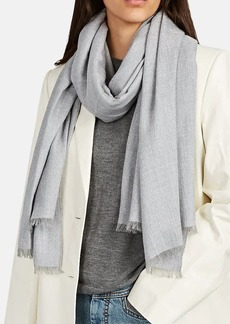 Barneys New York Women's Herringbone Cashmere-Blend Scarf - Gray