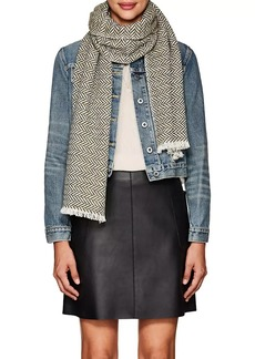 Barneys New York Women's Herringbone Cashmere Scarf - Military