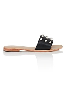 Barneys New York Women's Imitation-Pearl-Embellished Leather Slide Sandals