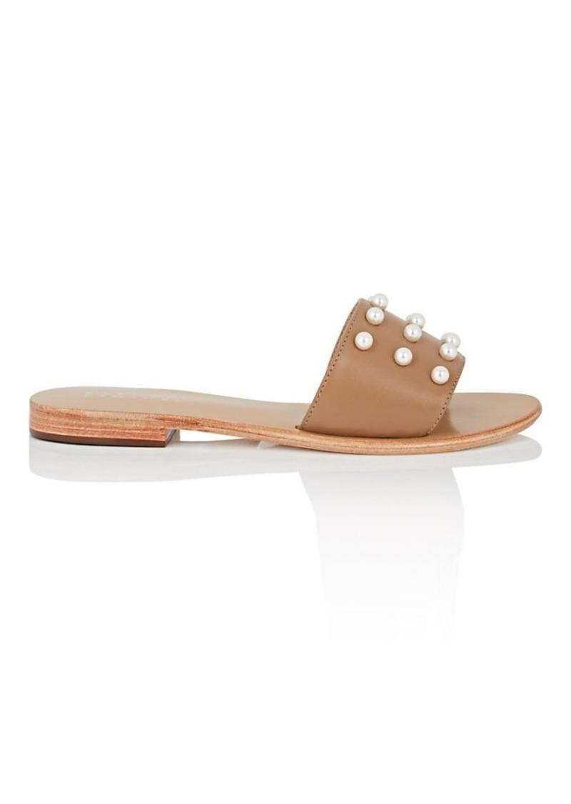 Barneys New York Women's Imitation-Pearl-Embellished Leather Slide Sandals