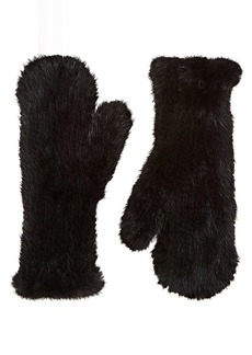 Barneys New York Women's Knitted Mink Fur Mittens - Black