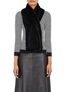 Barneys New York Women's Knitted-Mink Pull-Through Scarf - Black