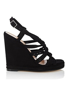 Barneys New York Women's Knotted-Strap Suede Platform-Wedge Sandals