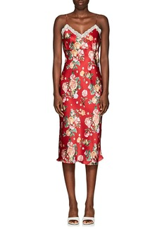 Barneys New York Women's Lace-Trimmed Floral Satin Slip Dress