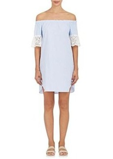 Barneys New York Women's Lace-Trimmed Striped Cotton Off-The-Shoulder Dress