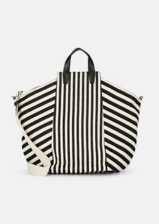 Barneys New York Women's Large Striped Canvas Tote Bag - Black