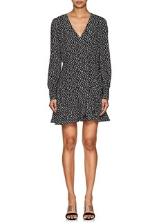 Barneys New York Women's Leaf-Print Crepe Long-Sleeve Dress