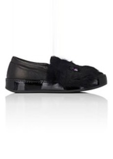 Barneys New York Women's Leather & Rabbit Fur Slip-On Sneakers