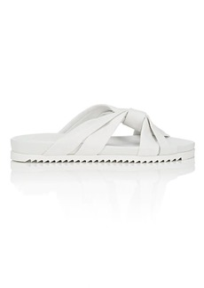 Barneys New York Women's Leather Crisscross-Strap Slide Sandals