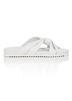 Barneys New York Women's Leather Crisscross-Strap Slide Sandals