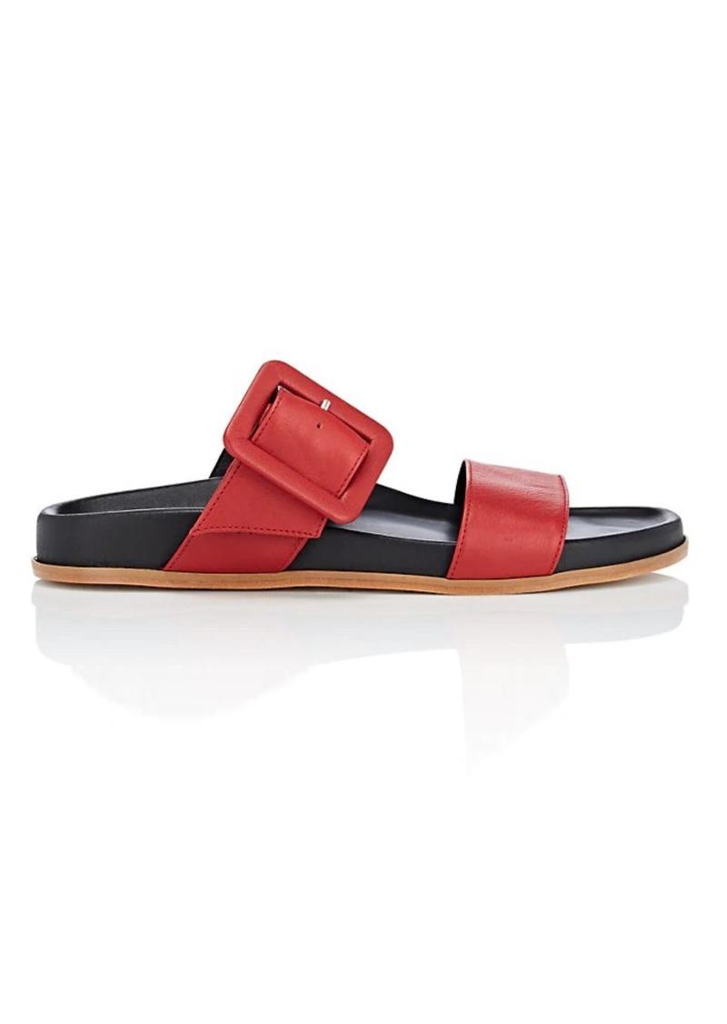 Barneys New York Women's Leather Double-Band Slide Sandals