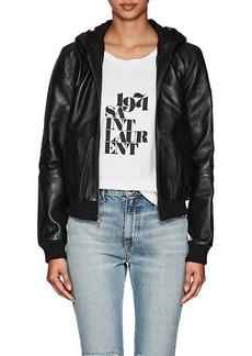 Barneys New York Women's Leather Hooded Bomber Jacket