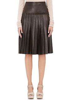 Barneys New York Women's Leather Pleated A-Line Knee-Length Skirt