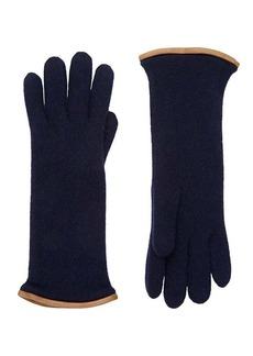 Barneys New York Women's Leather-Trimmed Cashmere Gloves
