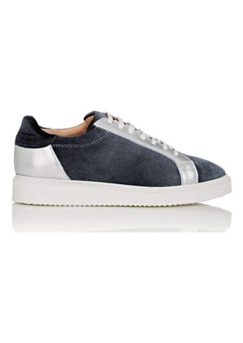 Barneys New York Women's Leather-Trimmed Velvet Sneakers