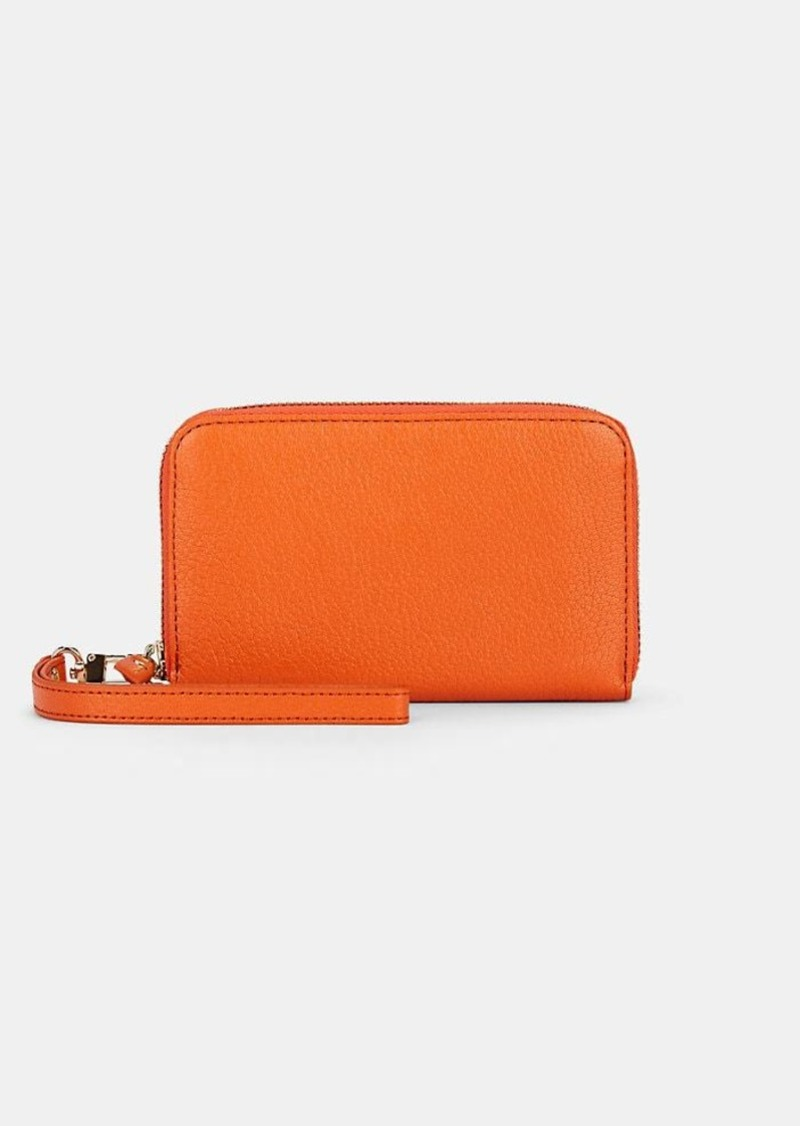 Barneys New York Women's Leather Wristlet Wallet - Orange