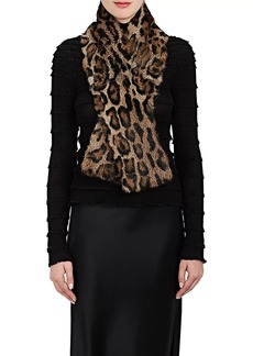 Barneys New York Women's Leopard-Print Fur Scarf - Brown