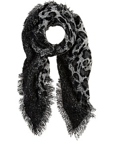 Barneys New York Women's Leopard-Print Oversized Blanket Scarf - Black