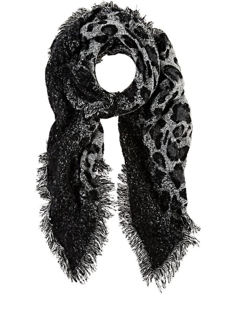 Barneys New York Women's Leopard-Print Oversized Blanket Scarf - Black