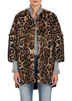 Barneys New York Women's Leopard-Print Rabbit-Fur Coat