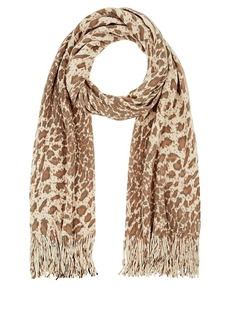 Barneys New York Women's Leopard-Print Rib-Knit Scarf-Beige, Tan