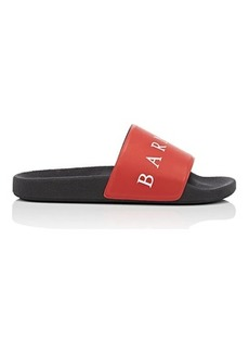 Barneys New York Women's Logo-Print Faux-Leather Slide Sandals