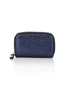 Barneys New York Women's Metallic Crinkled Leather Coin Purse - Blue