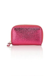 Barneys New York Women's Metallic Crinkled Leather Coin Purse - Pink