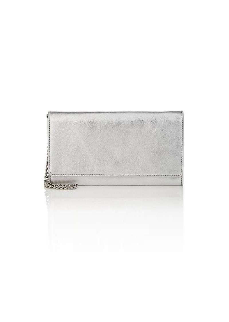 Barneys New York Women's Metallic Leather Large Chain Wallet - Silver