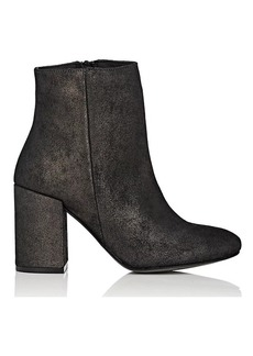 Barneys New York Women's Metallic Oiled Suede Ankle Boots
