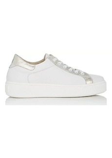 Barneys New York Women's Metallic-Trimmed Leather Sneakers
