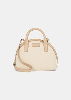 Barneys New York Women's Mini Canvas & Leather Bowler Bag - Neutral