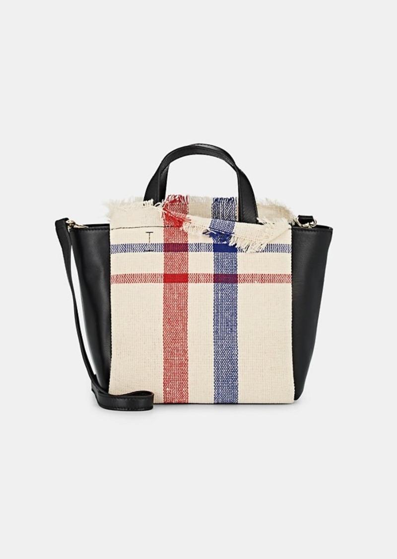 Barneys New York Women's Mini Plaid Linen & Leather Tote Bag - Neutral