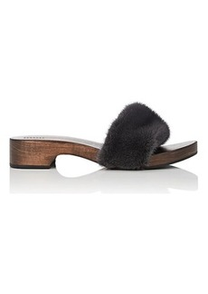 Barneys New York Women's Mink Fur Clog Sandals