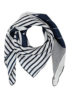 Barneys New York Women's Mixed-Striped Silk Habotai Scarf - Navy