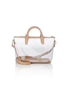 Barneys New York Women's Monica Leather-Trimmed Clear Satchel-Beige, Tan