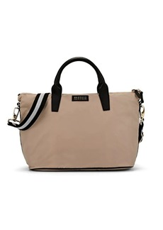 Barneys New York Women's Monica Leather-Trimmed Satchel - Neutral