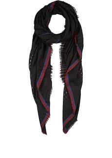 Barneys New York Women's Open-Weave Wool Scarf - Black