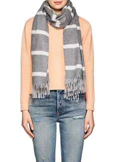 Barneys New York Women's Orwell Striped Lambswool-Angora Scarf - Gray