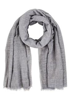 Barneys New York Women's Paint-Splatter-Detailed Gauze Scarf - Gray