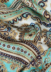 Barneys New York Women's Paisley Silk Scarf - Seafoam