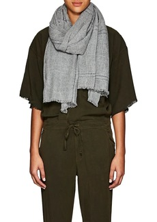 Barneys New York Women's Plaid Cashmere Scarf - Gray
