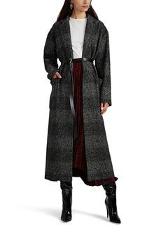Barneys New York Women's Plaid Wool-Blend Belted Coat