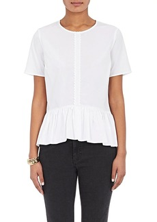 Barneys New York Women's Pleated Cotton Peplum Top