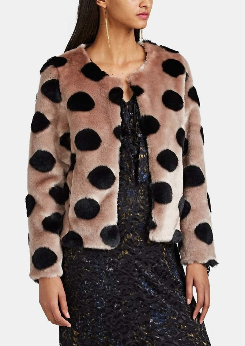 Barneys New York Women's Polka Dot Faux-Fur Crop Jacket