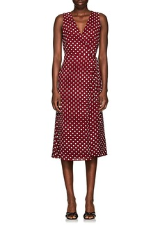 Barneys New York Women's Polka Dot Hammered Crepe Wrap Dress