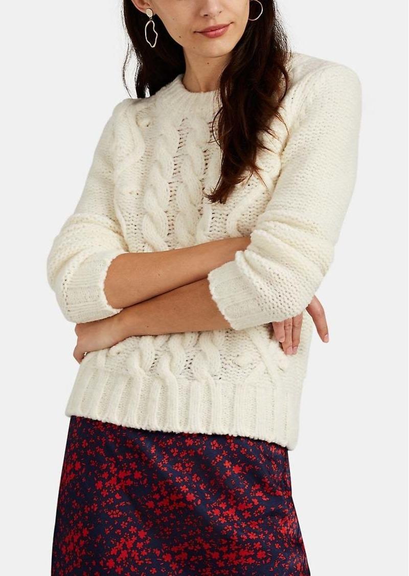 Barneys New York Women's Pom-Pom Cable-Knit Merino Wool-Blend Sweater